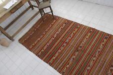 "Vintage Handmade Turkish Striped Oushak Kilim Rug 138""x54"""