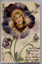 NEL MONDO DI FLORA Floral Goddes Girl inside Violet Flower PC Viaggiata 1901