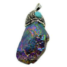 Metallic Titanium Coated Crystal Quartz Rhinestones Pendant Silver Beads Jewelry