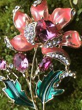Christmas Pink Poinsettia Flower Crystal Rhinestone Pin Brooch Fashion Large 2
