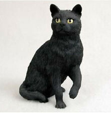 BLACK SHORTHAIRED TABBY CAT Figurine Statue Hand Painted Resin Gift