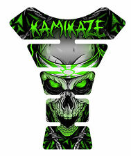 Kamikaze Green Skull Motorcycle 3D Gel Gas tank pad tankpad protector Decal