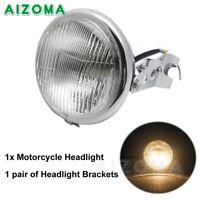Chrome H4 Bulb Headlight Lamp +Metal Head Light Bracket for Yamaha Suzuki Custom