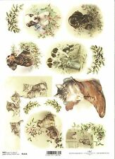 Rice Paper for Decoupage Scrapbooking Christmas Puppy Kittens A4 ITD R1018