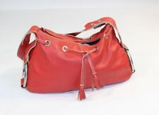 Womens HOGAN Made in Italy Italian Red Leather Tote Hand Bag Big Rings Handbag