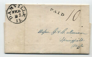 1846 Danville IL black CDS stampless folded letter to Springfield MA [5806.365]