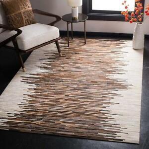Handmade Tricolor Cowhide Patchwork Rug  Large Carpet Floor Rug 5 ft X 8 ft