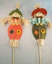 """Set of 2 Mini 14"""" Burlap Scarecrow on a Stick - Straw - Fall - Autumn 17020b"""