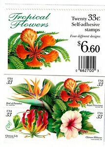 US # 3310-3313 Tropical Flowers 33c - Block of 4 Postage Stamps + Booklet Cover
