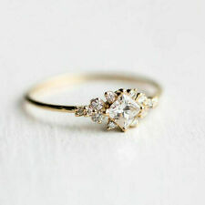 Delicate Women White Sapphire Gem Wedding Jewelry 18K Yellow Gold Ring Size 7