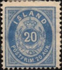 Iceland 1891  20a Greenish Blue  Perf 14 x 13.5  SG.20b Mint (Hinged)