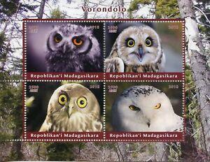 Madagascar Birds of Prey on Stamps 2018 MNH Owls Little Snowy Owl 4v M/S