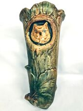 "WELLER POTTERY 11 1/4"" WOODCRAFT OWL in TREE WALL POCKET VASE Circa 1920's"