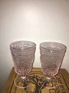 Pink Easter Bunny Hobnail Glass Beverage Glasses Set of 2 Goblets NWT