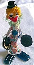 HAND MADE GENUINE MURANO ITALY VENETIAN (AVENTURINE) GLASS CLOWN HOLDING CYMBALS