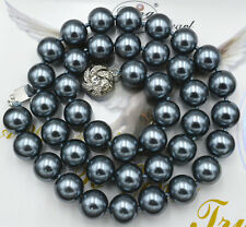 "8mm South Sea Dark gray Shell Pearl Necklace 18"" crystal Clasp"