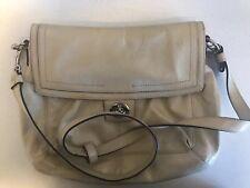 Coach Patent Leather Crossbody Messenger Bag Beige Turn-lock