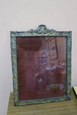 """Vintage Gilt Metal Iron Art Nouveau Frame Wall Table Mirror 12.5"""" x 15.5"""""""
