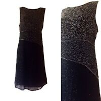 Gina Bacconi Pure SILK Black Gatsby 20s Insp Sequin Occasion Shift Dress UK 16