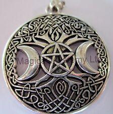 Triple Moon Goddess Pendant Talisman Pentacle Pentagram Wiccan Pagan Amulet