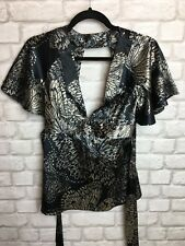 TOPSHOP LADIES BLACK AND WHITE BUTTERFLY KIMONO TOP BLOUSE SILK STYLE SIZE 8