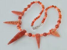 Große Optik - Korallen Karneolkette - Collier - Halskette Silber Korallenkette
