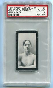 1912 Cohen Weenen Green Back 3 Georges Carpentier RC Rookie Card PSA 6 EX-Mint