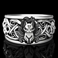 Punk 925 Silver Fox Ring Women Men Wedding Party Gift Jewelry Size 5-12