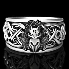 Punk 925 Silver Fox Ring Women Men Wedding Party Gift Jewelry Size 5-12