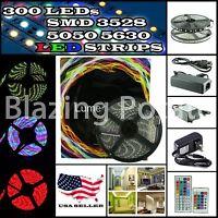 ☆5M SMD 3528 5050 5630 300 LEDs RGB LED Strip Light 12V Power Supply USA Seller☆