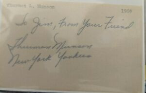 """Thurman Munson"" Hand Signed Index Card w/ Dedication 1969"