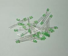 50 Green 3mm Green Lens Diffused LEDs Free Resistor