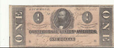 1 DOLLAR FINE-VF BANKNOTE FROM CONFEDERATE STATES/RICHMOND 1864