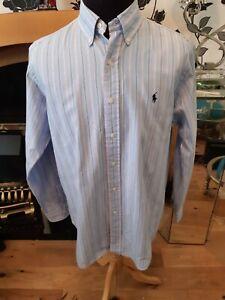 Men's Ralph Lauren Striped Blue Classic Fit  Shirt  collar size 16  34/35
