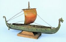 EDWARD AAGAARD VIKING SHIP MODEL VINTAGE BRONZE & COPPER LONGBOAT DENMARK 1960s
