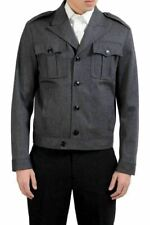 Dsquared2 Men's Wool Gray Button Up Light Jacket US S IT 48