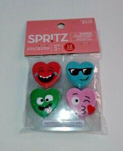 12ct Deluxe Heart Shaped Valentine's Stickers - Spritz