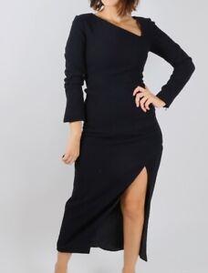 CARVEN Seersucker Navy Blue Long Sleeve Sheath Dress Size 36  $1040