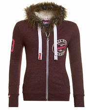 New Womens Superdry Unique Sample Super Track Zip Hoodie Size Small Wine Snowy