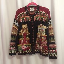 Heirloom Collectibles Cardigan Sweater Size L Christmas Teddy Bear Wrapped Gifts