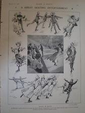 Society on Skates Prince's Knightsbridge Will Owen 1908 old cartoon print