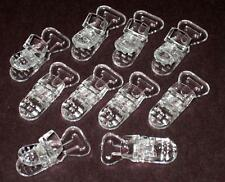 10 Baby Pacifier Badge T Plastic Clips Bib Holder CLEAR