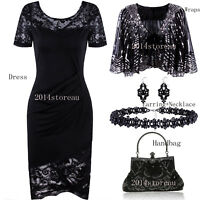Black Vintage Ruffles Floral Lace Dress V-Neck Party Gowns Casual Wear Plus Size