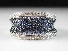 14K Sapphire Diamond Ring White Gold Blue Curved Wide Band Fine 3.00ctw Size 7