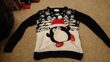 Womans Christmas Jumper Penguin With Big Eyes Size 6/8