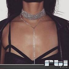 Women Crystal Rhinestone Choker Long Necklace Chain Nightclub Party Prom Jewelry