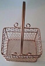 Metal Wire Beaded rectangular gold basket, handle 6.5 x 5 x 4.75 inch home decor