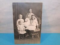 Antique Family Children Baby Brothers & Sisters Real Photo Postcard RPPC Chair