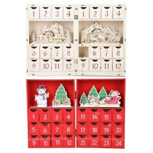 Christmas Wooden Advent Calendar with 24 Drawers Candy Box for Adults Kids Home