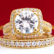 Genuine 9k Yellow Gold Engagement Wedding Eternity 2 Rings Set Simulated Diamond